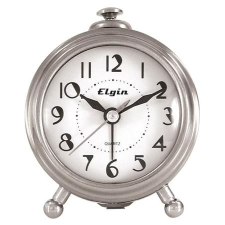 Elgin Traditional Alarm Clock, Silver