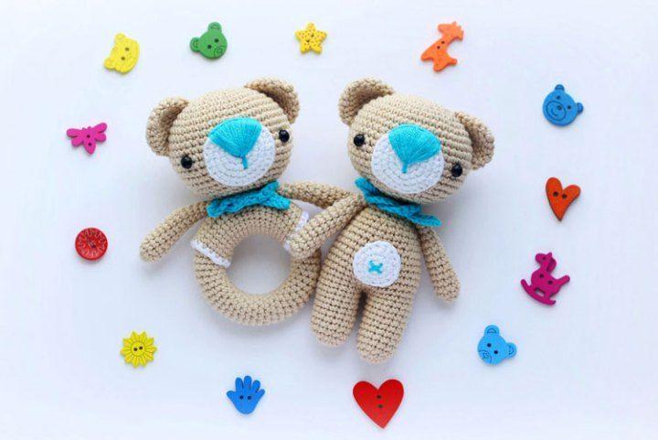 Amigurumi teddy bear and teddy rattle - free crochet patterns