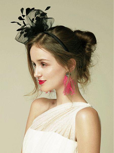 Fantastic black feather fascinator bridal headband…