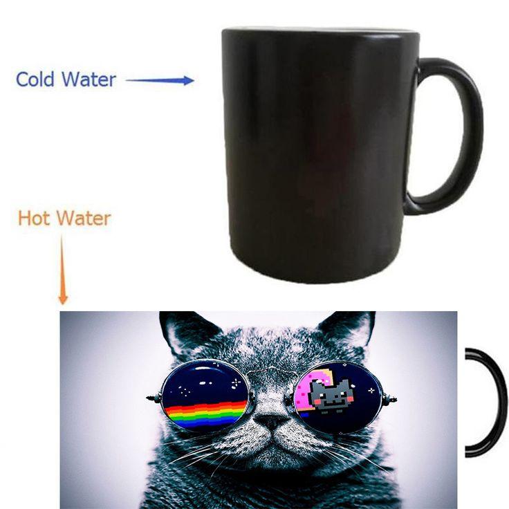 grumpy cat mug heat reveal  morphing coffee mugs heat changing color beer art magic ceramic tea  #Affiliate