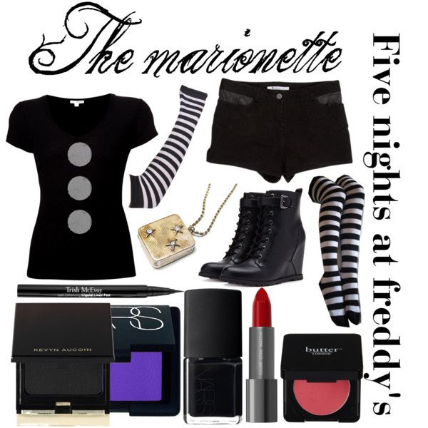 """Five nights at Freddy's inspired outfits #1 The marionette"" by tortured-puppet on Polyvore"
