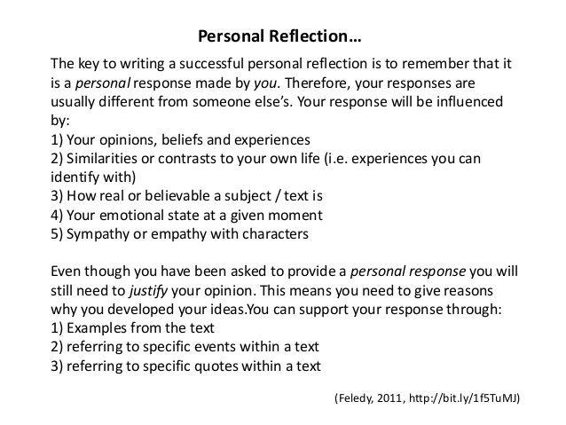 how to write a personal reflection paper