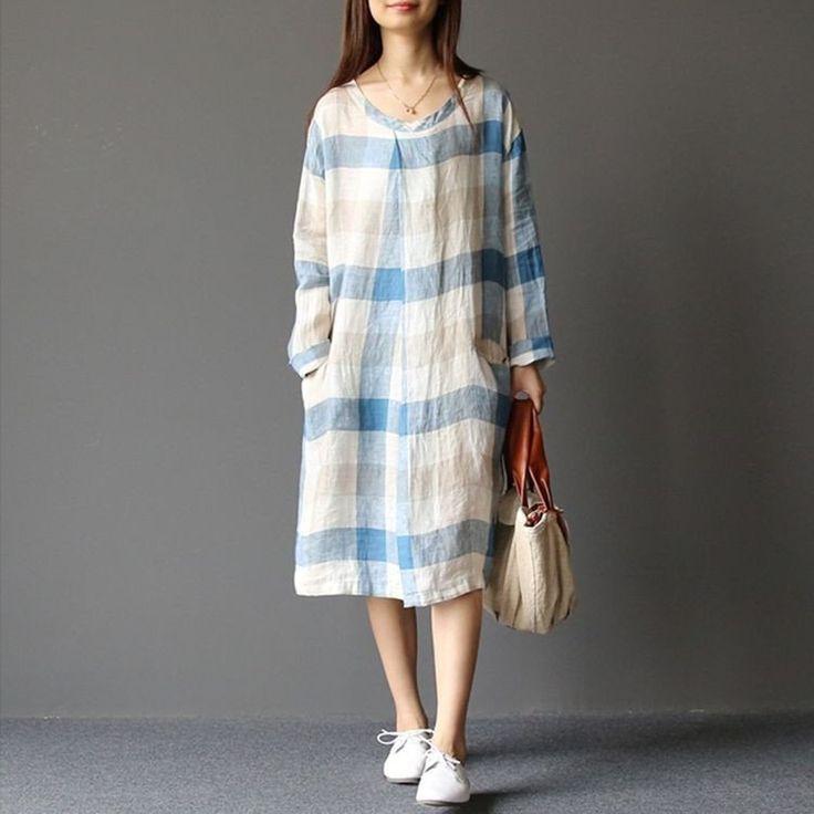 Women spring loose plaid cotton dress
