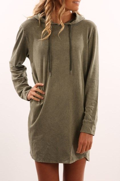 Valeria Hoody Dress Khaki....want it to wear around my Lair.