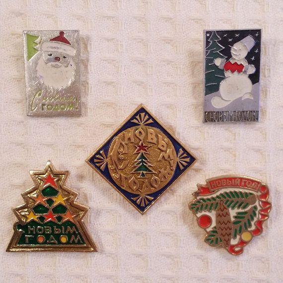 Christmas Pins Santa Pins Vintage Christmas от USSRVintageShopUSSR
