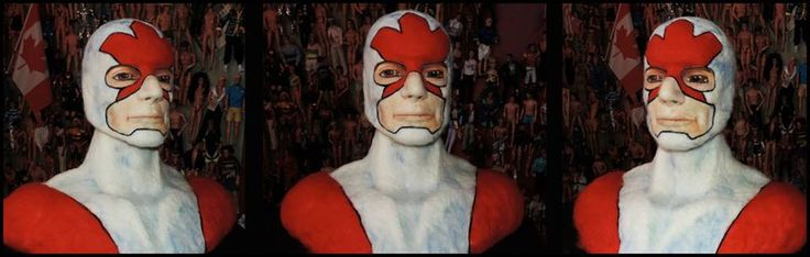 "Captain Canuck  Needle Felted Wool 24"" x 18"" x 28""(H) — 2015"