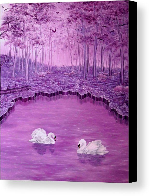 Canvas Print,  swans,forest,scene,lake,trees,nature,landscape,water,life,dreamlike,fantasy,big,birds,white,purple,violet,mauve,image,beautiful,fine,oil,painting,contemporary,scenic,modern,virtual,deviant,wall,art,beautiful,awesome,cool,artistic,artwork,for,sale,home,office,decor,decoration,decorative,items,ideas,fine art america