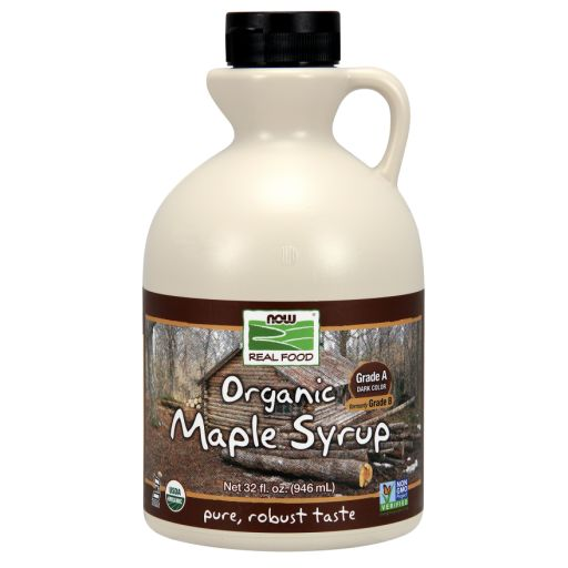 WhatSugar: NOW Real Food® Maple Syrup, Organic Grade A Dark Color (formerly Grade B). (32oz) Robust Taste. Contains 66% sugars. Provides 50 kcal/ 1 Tbsp (15 mL) or 17Kcal/ 1 tsp (5mL). Nutrition = 16g sugars/ 1 tablespoon (15mL or 20g) or 5g sugars/ 1 teaspoon (5mL or 7g). Non-GMO Project Verified. Certified Organic by QAI. Certified Kosher Parve by Kof-K. Vegan. Has a deeper, richer flavor than Grade A light syrups. Distrib. by NOW Real Food®, Bloomingdale, IL
