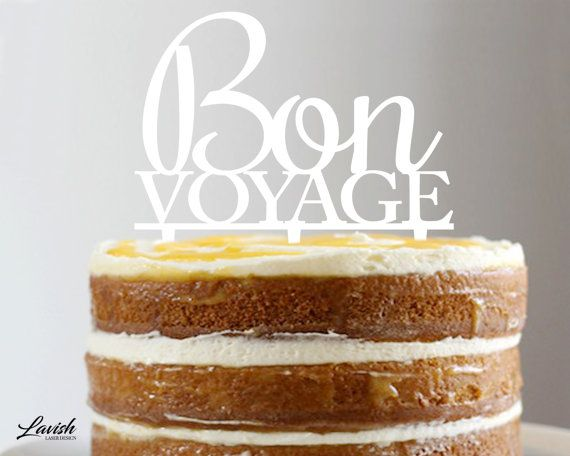 BON VOYAGE acrylic cake topper  Black or by LavishLaserDesign