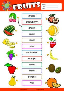 Fruits ESL Matching Exercise Worksheet For Kids ...