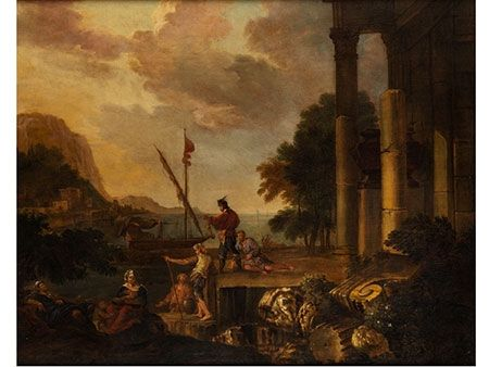 jacob de heusch LANDSCAPE WITH RUINS, FIGURES AND BOATS IN A BAY