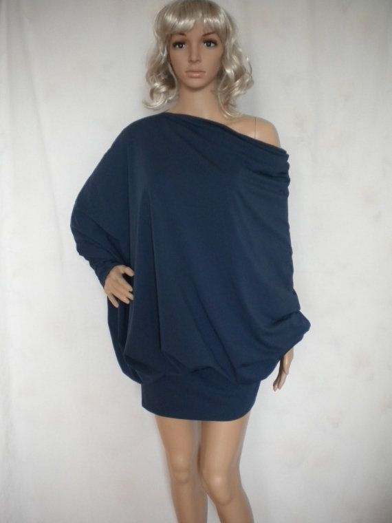 Asymmetric draped tunic top loose oversize dress long sleeves.  Versatile and very comfy oversize top with long dolman batwing sleeves.So