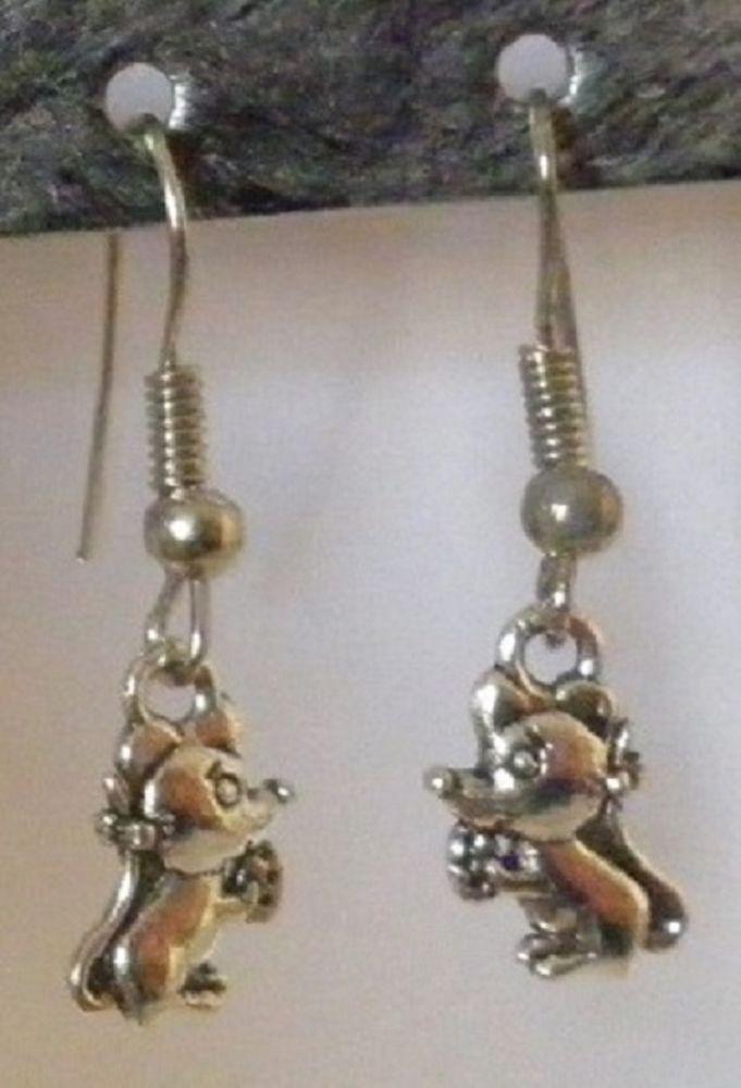 boucles d'oreilles créateur souris argentée argent fantaisie femme enfant mode