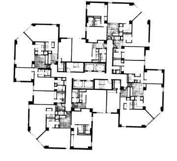 Waterside towers / Davis&Brody Associates / typical floor plan_ middle…