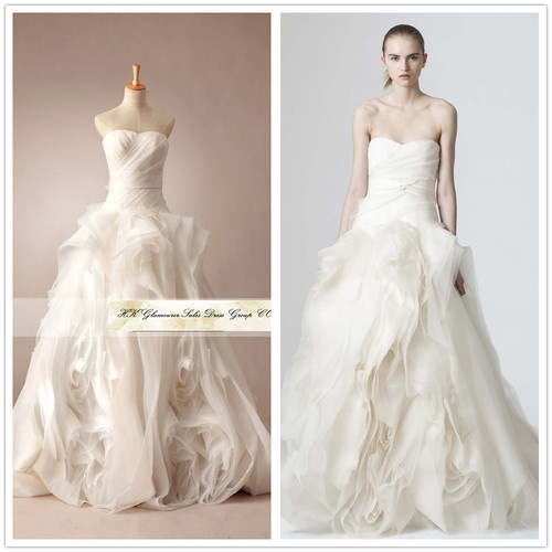 Custom Made Vera Wang Wedding Dress 2013 Vintage Lace Long Sleeve