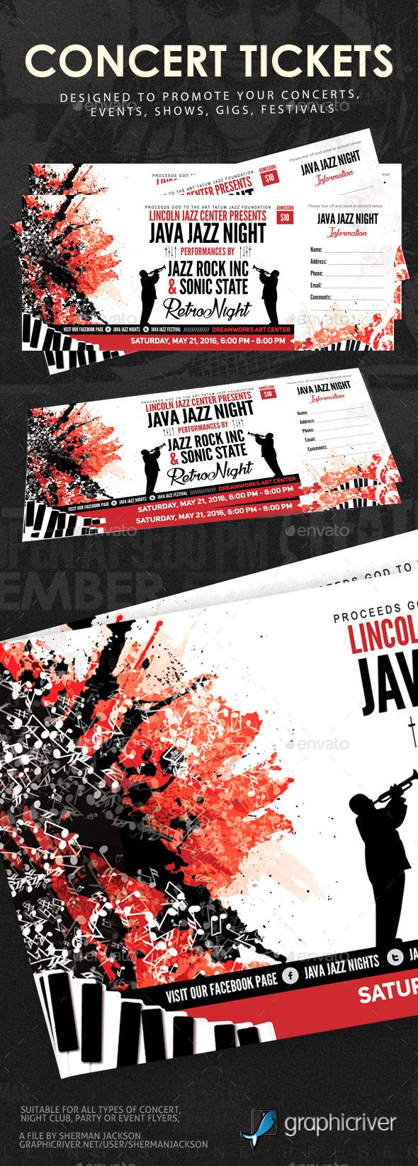 Concert Event Tickets Template PSD. Download here: https://graphicriver.net/item/concert-event-tickets/15554136?ref=ksioks