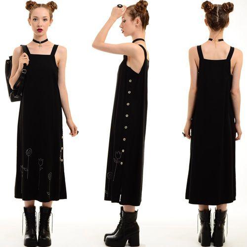Vtg 80s 90s Black Minimalist Floral Schoolgirl Pinafore Grunge Jumper MIDI Dress | eBay
