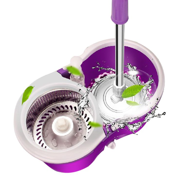 KOYIDA Magic Spin Mop Bucket Double Drive Hand Pressure Spin Mop With 1 Microfiber Mop Head Household Floor Cleaning Mop Bucket