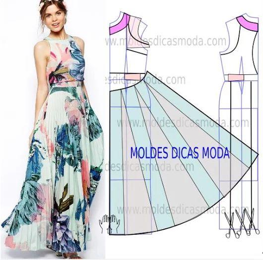 MOLDE VESTIDO PLISSADO -231 - Moldes Moda por Medida                                                                                                                                                      Más