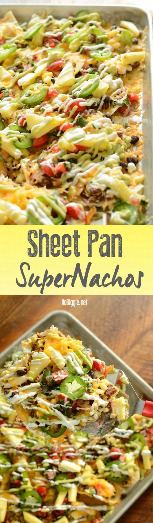 Feed a crowd on game day with these Sheet Pan Super Nachos. The freshness of the pico de gallo and fresh pineapple make these nachos SUPER!