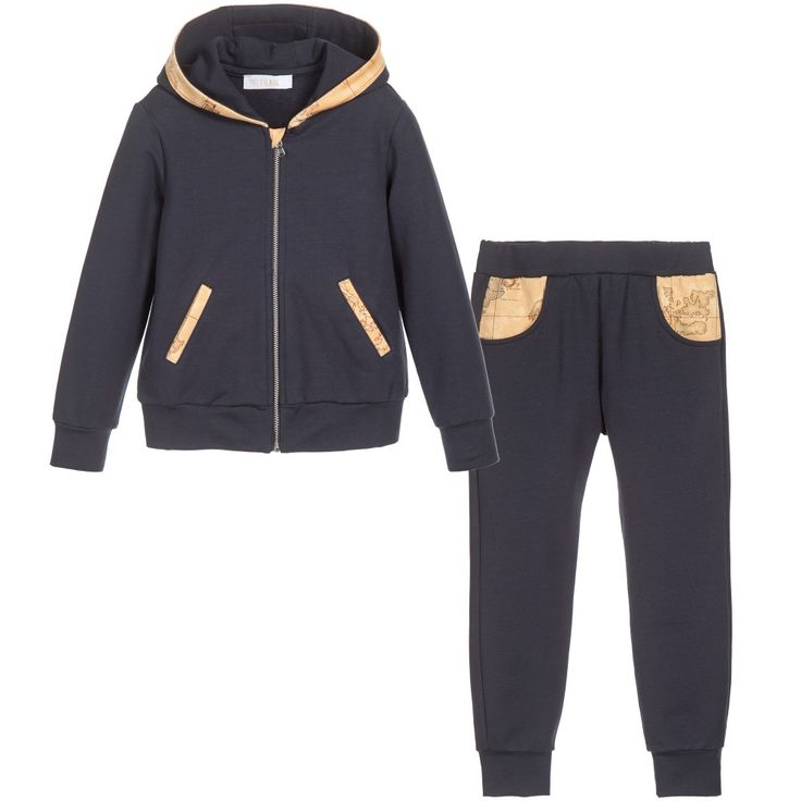 Boys Navy Blue Beige Map Print Tracksuit, Alviero Martini, Boy