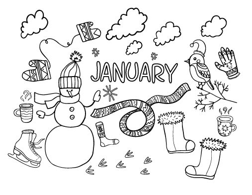 Printable January Coloring Page Free PDF Download At Coloringcafe