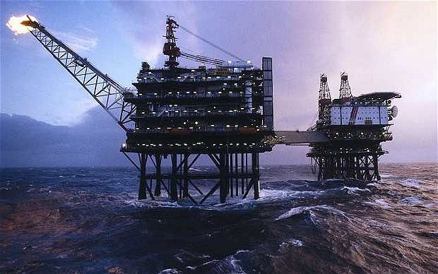 North Sea oil rig with flare