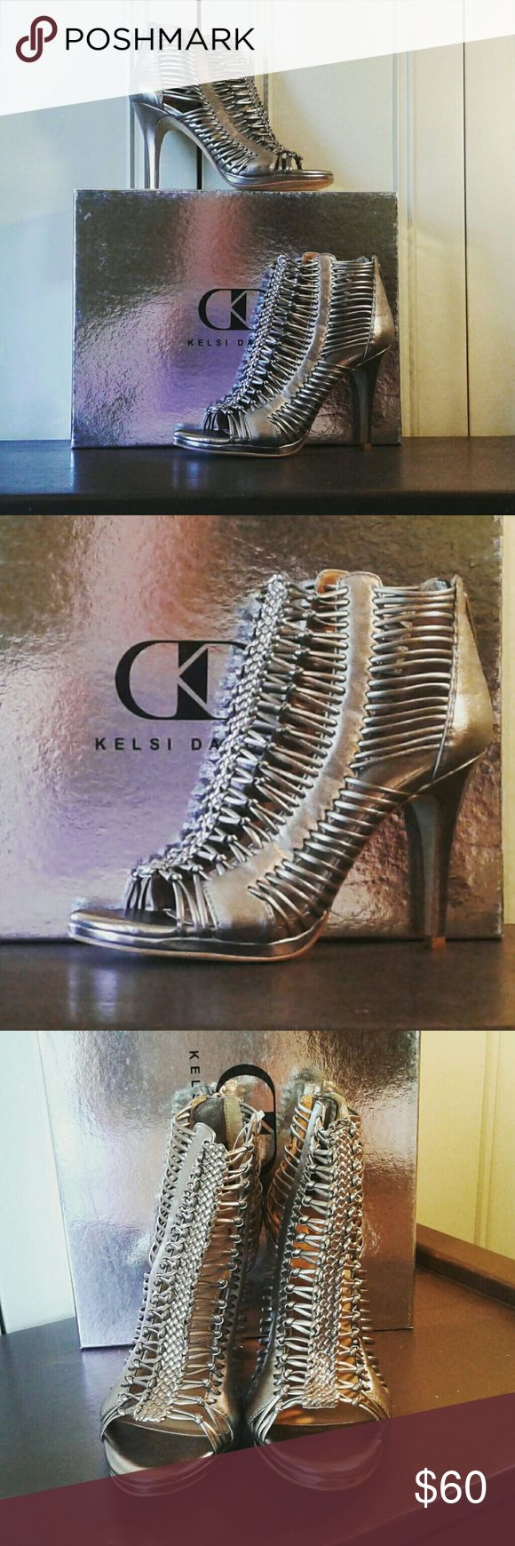 NIB Kelsi Dagger Frayne Pewter Leather Caged Kelsi Dagger Frayne Pewter Leather High Heel Sandals. Zip up back. New in box. Kelsi Dagger Shoes Ankle Boots & Booties