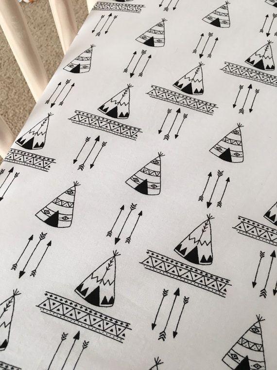 Teepees Crib Sheet, Tribal Nursery, Black and White crib sheet, Explorer Teepee Baby Bedding, Gender Neutral, arrows bedding, designer sheet