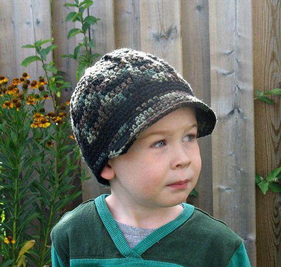 Crochet Camo Newsboy Hat Newborn Boy Hat by DeesCozyCreations