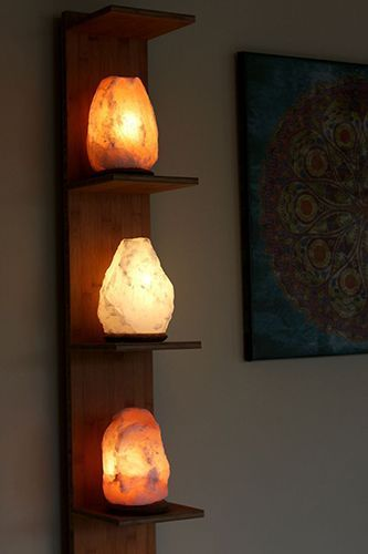 Salt Lamps stacked. Might find inexpensive on Craigslist or local resale sites