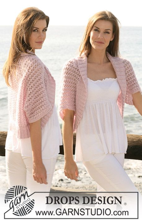 """Knitted DROPS bolero with lace pattern in """"Cotton Viscose"""" and """"Kid-Silk"""". Size XS/S - XXXL  Free pattern by DROPS Design."""