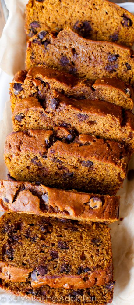Pumpkin Chocolate Chip Bread - by far my FAVORITE recipe for pumpkin bread. A splash of orange juice makes it stand out from the rest!