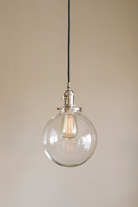 Image result for clear glass globe pendant light fixture with 8 shade hand blown