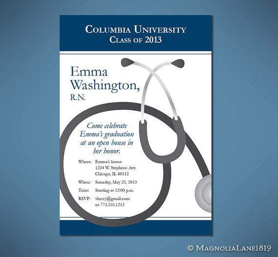 Nurse or Doctor Graduation Invitation Cards  by MagnoliaLane1819, $12.00
