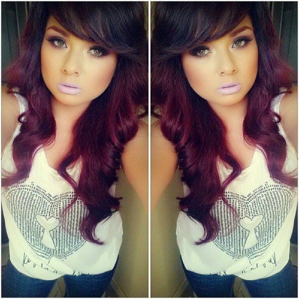dark brown and violet red hair color #loreal Its so beautiful!!