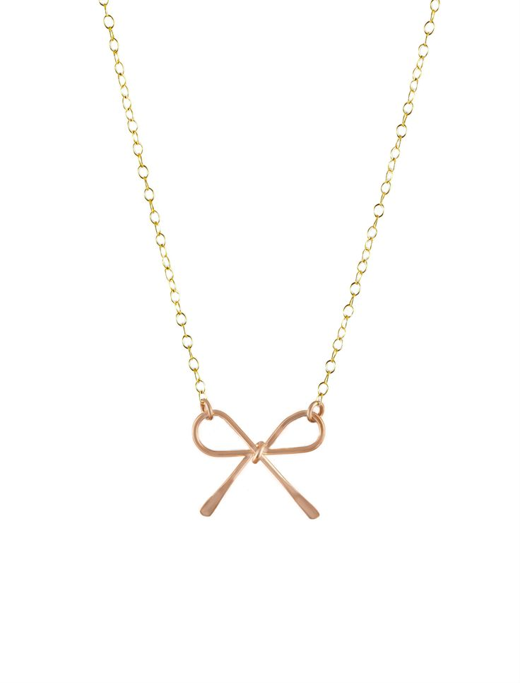Bow-tiful! Gorgeous petite rose-gold bow on a fine gold chain - oh so pretty!