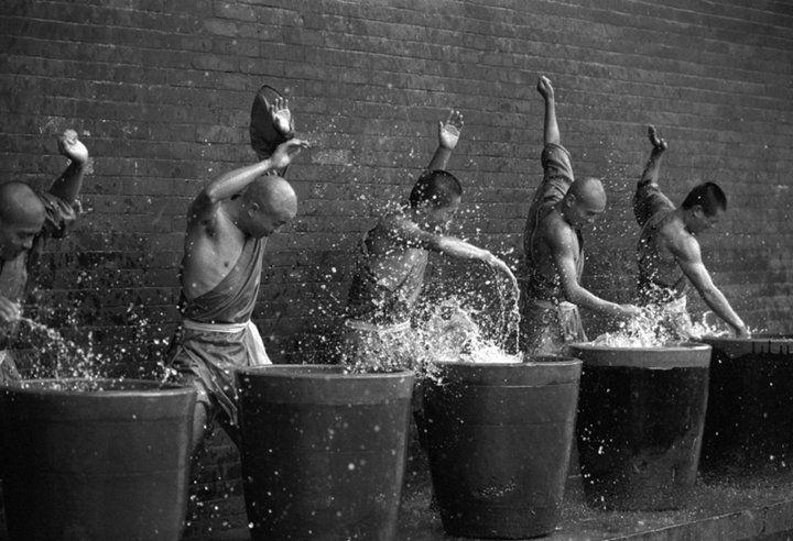 Iron palm training, water exercises