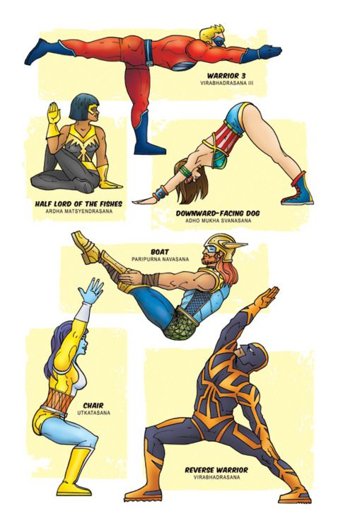 Yoga poses with zombies, superheroes, pirates, and Star Wars