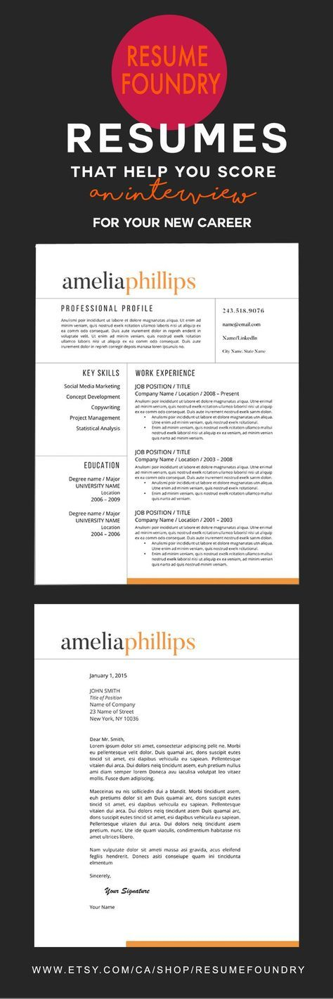 A professional resume template with a zing of color to catch the recruiters eye. Only $15 on Etsy.  Check out Resume Foundry www.etsy.com/...