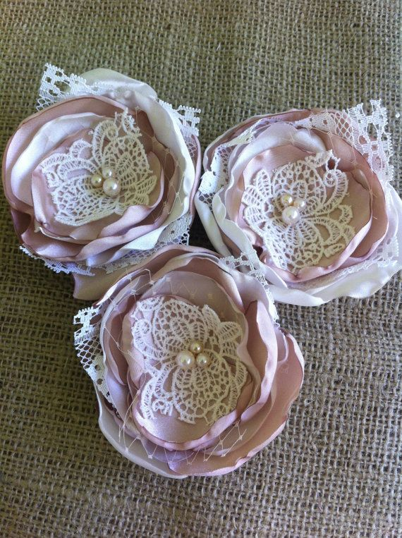 Set of 3 Fabric Flowers, Champagne, Satin and Lace, Bridal Accessories, Flower Appliques, Embellishments, **Ready to Ship**