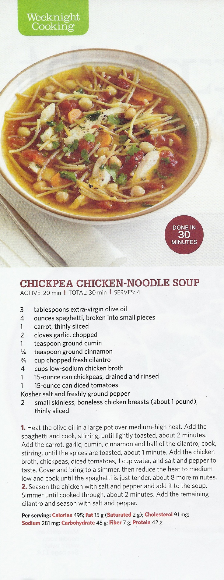 76 best food network magazine images on pinterest food network chickpea chicken noodle soup forumfinder Image collections