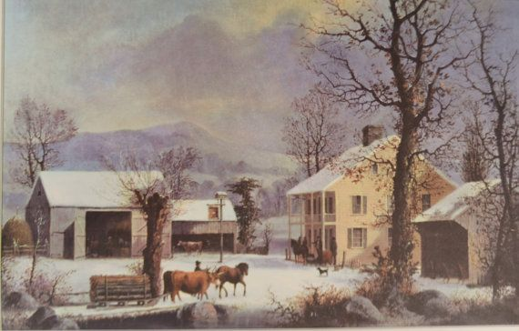 Winter Scene Print, #Vintage 1957 Currier & Ives Calendar Page, Winter-Time at Jones Inn Print, Winter Picture, Collector's Item  winter scene, Currier and Ives, Calendar Pa... #vintage