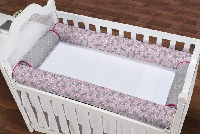 86e8b4bac27277 Lindo kit protetor de berço rolinho 4 peças tema raposinha rosa com ...