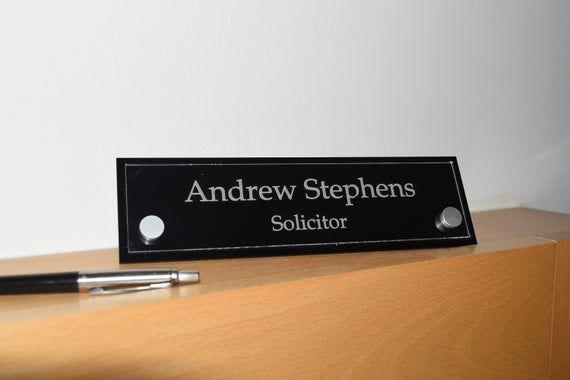 Contemporary Custom Engraved Acrylic Desk Name Plate Desk Etsy In 2020 Desk Name Plates Custom Engraving Name Plate