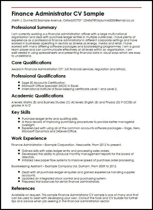Finance Administrator Cv Sample Myperfectcv Resume Template Manager Resume Sample Resume