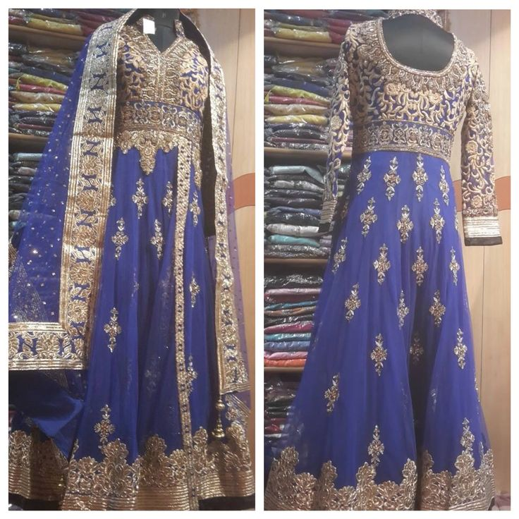 Rich color and embroidery used in this anarkali by Madaan ...