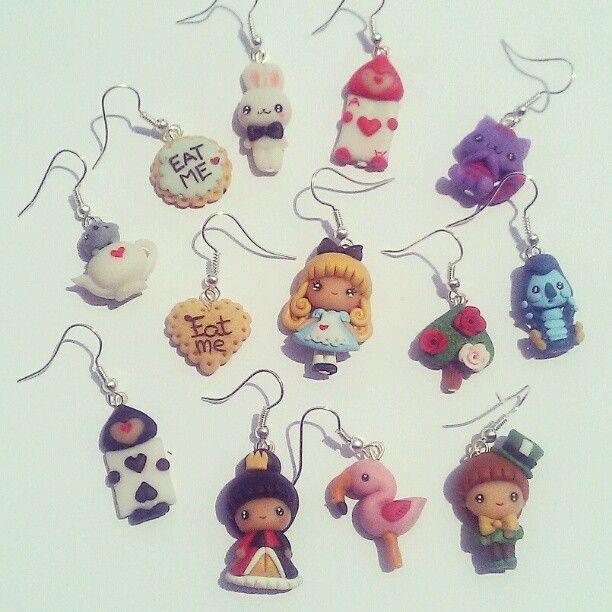 #handmade #alice #earrings #polymerclay #fimo #kawaii #cute