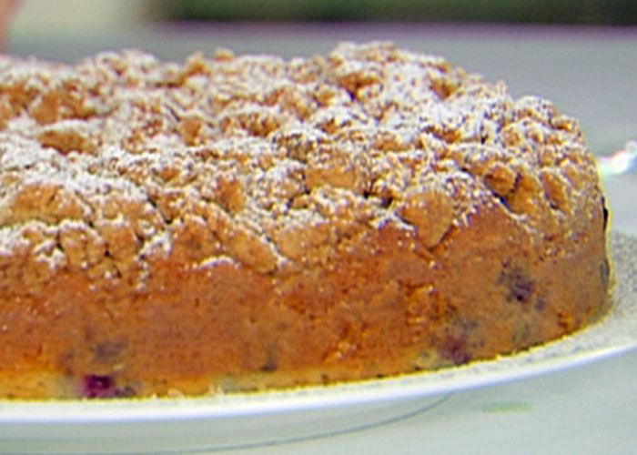 Blueberry Crumb Cake by Ina Garten aka- Barefoot Contessa. This is seriously the best crumb cake. I can't wait to make one again this weekend.