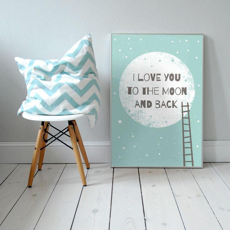I love you to the Moon and back. Plakat dla dzieci. pokój dziecka   noc   ilustracja   nursery poster   scandinavian style   moon   baby   illustration   baby room